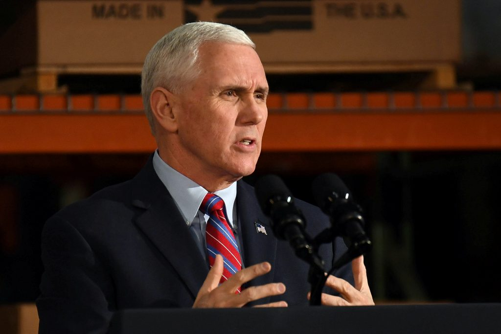 U.S. Vice President Mike Pence speaks about the American Health Care Act during a visit to the Harshaw-Trane Parts and Dis...