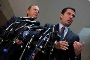 House Select Committee on Intelligence Chairman Rep. Devin Nunes (R-CA) and Ranking Member Rep. Adam Schiff (D-CA) speak with the media about the ongoing Russia investigation on Capitol Hill in Washington, D.C., U.S. March 15, 2017. REUTERS/Aaron P. Bernstein - RTX315U8