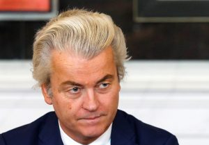 Dutch far-right politician Geert Wilders of the PVV Party takes part in a meeting at the Dutch Parliament after the general election in The Hague, Netherlands, March 16, 2017. REUTERS/Yves Herman