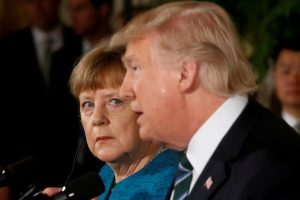 Germany's Chancellor Angela Merkel and U.S. President Donald Trump hold a joint news conference in the East Room of the White House in Washington, U.S., March 17, 2017. REUTERS/Jonathan Ernst TPX IMAGES OF THE DAY - RTX31JOP