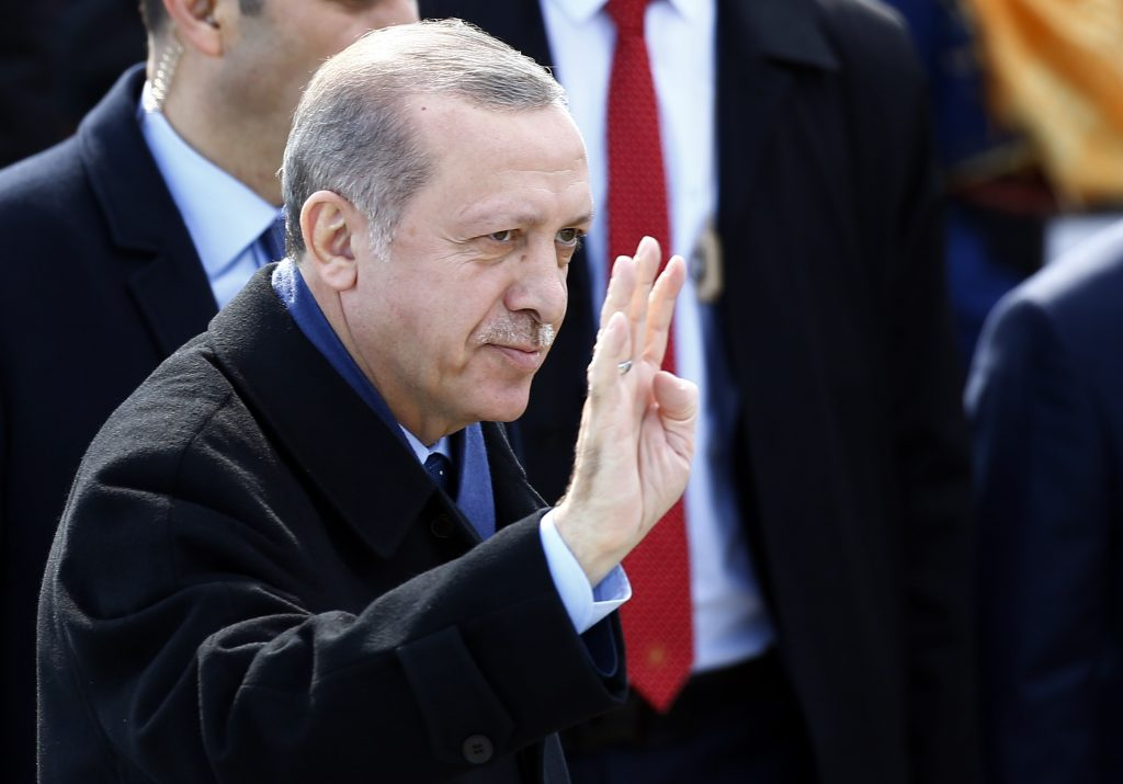Turkish President Erdogan attends a ceremony marking the 102nd anniversary of Battle of Canakkale, also known as the Gallipoli Campaign, at the Turkish memorial in Canakkale