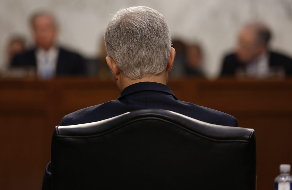 U.S. Supreme Court nominee judge Neil Gorsuch testifies during the second day of his Senate Judiciary Committee confirmation hearing on Capitol Hill in Washington, U.S., March 21, 2017. REUTERS/Jonathan Ernst - RTX3218N