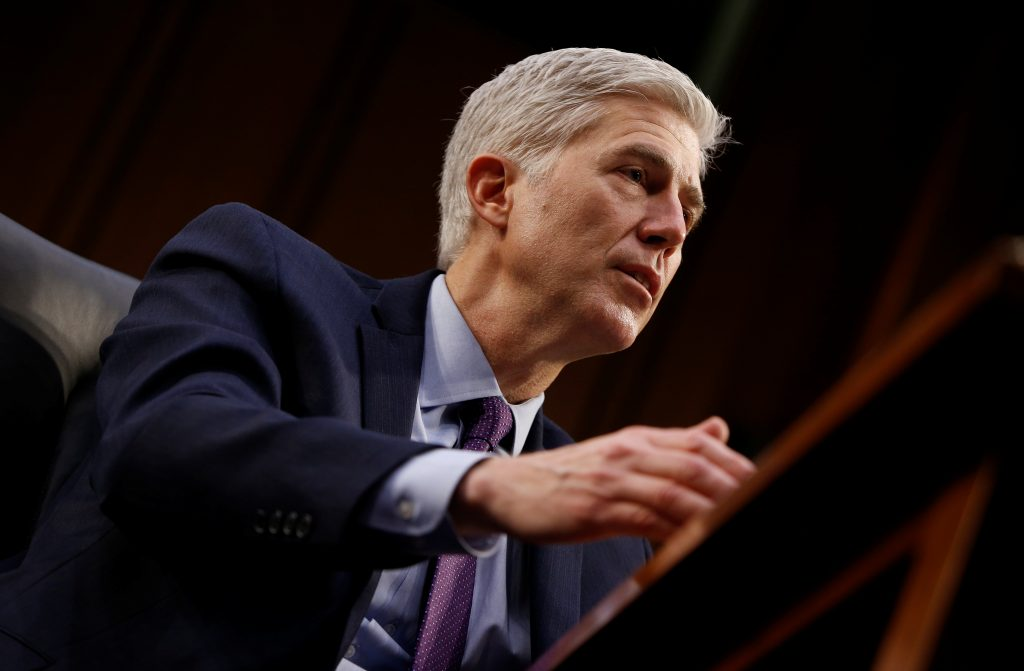 Supreme Court nominee judge Neil Gorsuch testifies before the Senate Judiciary Committee confirmation hearing Mar. 21 on Capitol Hill in Washington, D.C. Photo by REUTERS/Joshua Roberts.