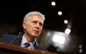 Supreme Court nominee judge Neil Gorsuch testifies before the Senate Judiciary Committee confirmation hearing on Capitol Hill in D.C. in March. Photo by Joshua Roberts/Reuters