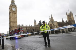 Police tapes off Parliament Square after reports of loud bangs today in London. Photo by Stefan Wermuth/Reuters
