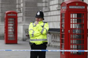 A police officer stands guard in the Westminster area of London on March 23. Photo by Stefan Wermuth/Reuters