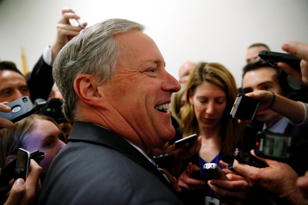 """A leading opponent was the head of the Freedom Caucus — Rep. Mark Meadows. In Meadows' North Carolina district, 77-year-old Hendersonville retiree Don Lee said he voted for Trump to """"bring Republicans together,"""" but added that the president """"needed to take some more time with this bill and try to find some unity."""" Photo by Jonathan Ernst/Reuters"""