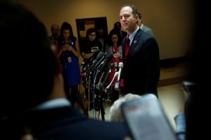 Representative Adam Schiff speaks with reporters at the U.S. Capitol in Washington