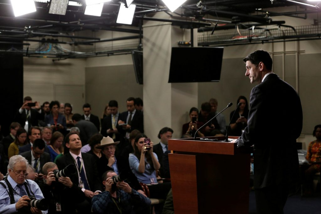 U.S. House Speaker Paul Ryan (R-WI) speaks at his news conference after the House Republican meeting on Capitol Hill in Washington, U.S. March 24, 2017. REUTERS/Yuri Gripas - RTX32LSY