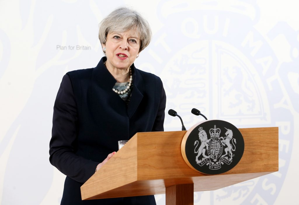 File photo of British Prime Minister Theresa May by Jane Barlow/Pool via Reuters