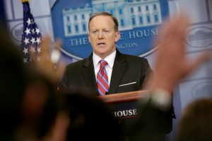 White House Press Secretary Sean Spicer speaks during the daily press briefing at the White House in D.C. Photo by Joshua Roberts/Reuters