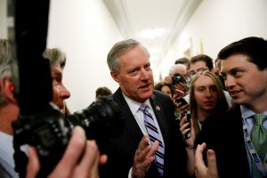 FILE PHOTO: House Freedom Caucus Chairman U.S. Representative Mark Meadows (R-NC) speaks to reporters after meeting with his caucus members about their votes on a potential repeal of Obamacare on Capitol Hill in Washington, U.S., March 23, 2017. REUTERS/Jonathan Ernst/File Photo - RTX334X8