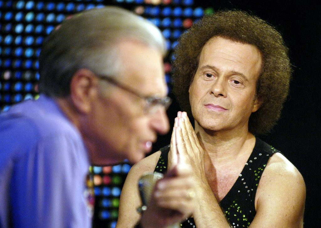 Fitness guru Richard Simmons (R) appears with host Larry King in 2005. Photo by Reuters