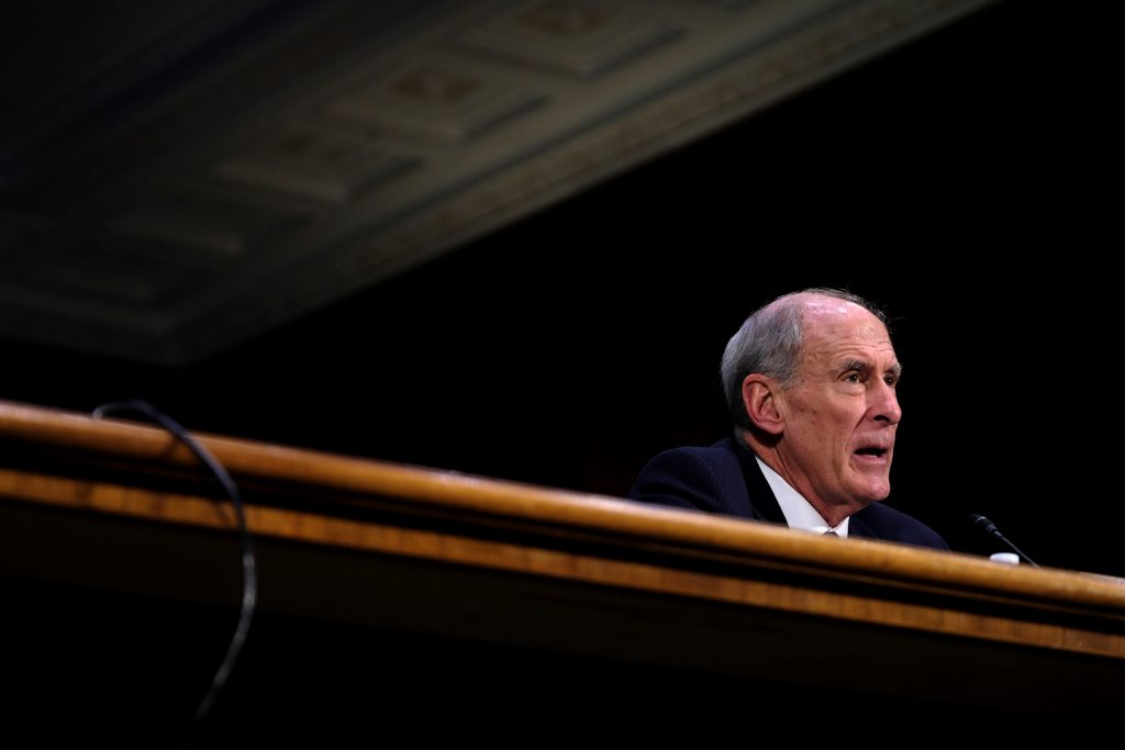 Former U.S. Senator Dan Coats (R-IN) testifies in February before the Senate Select Committee on Intelligence on his nomination to be Director of National Intelligence in Washington, D.C. Coats was confirmed by the Senate on Mar. 15. Photo by REUTERS/James Lawler Duggan.