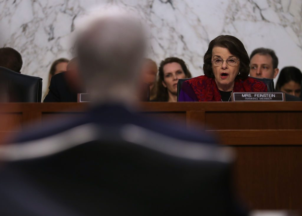 Senate Judiciary Committee ranking member Dianne Feinstein (D-Calif.) questions Judge Neil Gorsuch Mar. 22 during the third day of his Supreme Court confirmation hearing in Washington, D.C. Photo by Justin Sullivan/Getty Images.