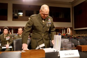 Commandant of the Marine Corps Gen. Robert Neller arrives for a Senate Armed Services Committee hearing Mar. 14 on the Marines United Facebook page on Capitol Hill in Washington, D.C. Photo by REUTERS/Aaron P. Bernstein.