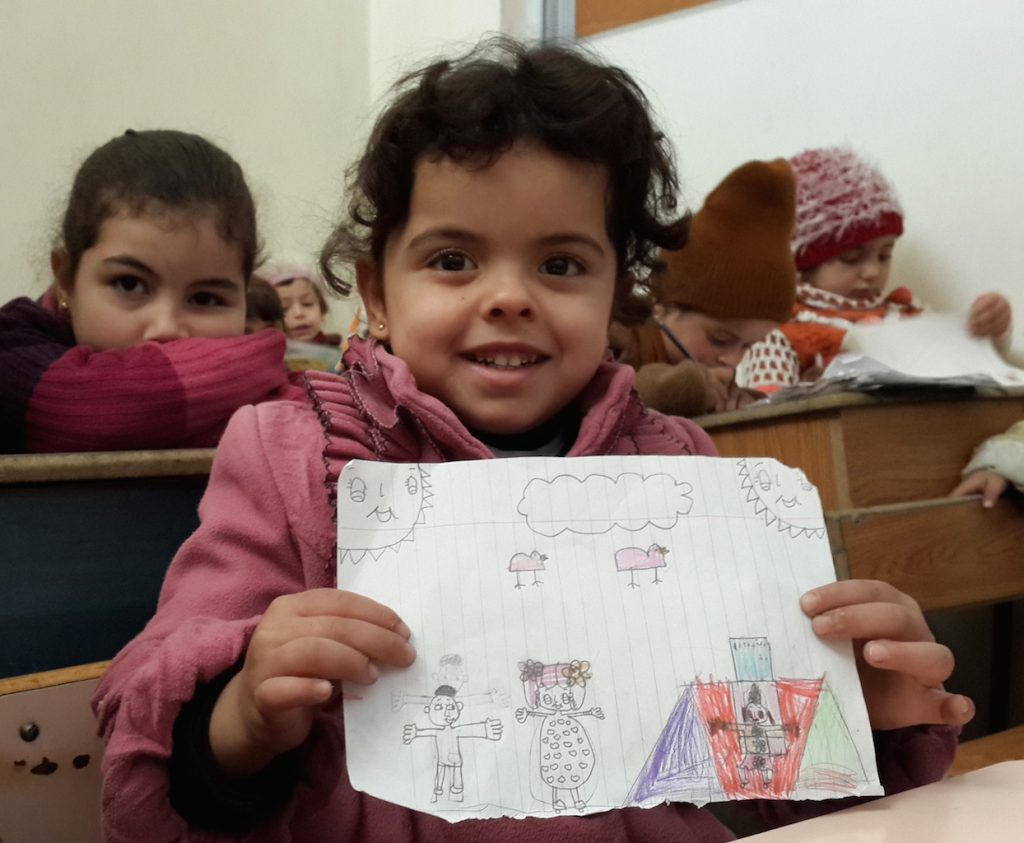 Art therapy classes help young children in Syria express and work through their fears. Photo courtesy of Syria Relief