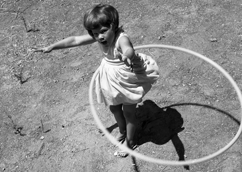 The smaller the waist--or the wider the hoop--the easier it is to keep it up. Photo by George Garrigues