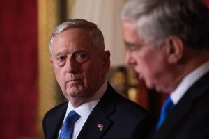 United States Defense Secretary James Mattis (L) holds a press conference with British Defence Secretary Michael Fallon (R) at Lancaster House on March 31 in London, England.  Photo by Jack Taylor/Getty Images