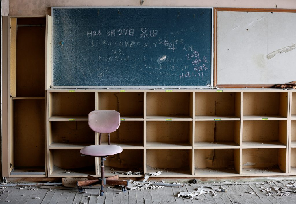 A classroom at Ukedo elementary school, damaged by the March 11, 2011 tsunami, is seen near Tokyo Electric Power Co's (TEPCO) tsunami-crippled Fukushima Daiichi nuclear power plant in Namie town, Fukushima prefecture, Japan,. Photo by REUTERS/Toru Hanai .