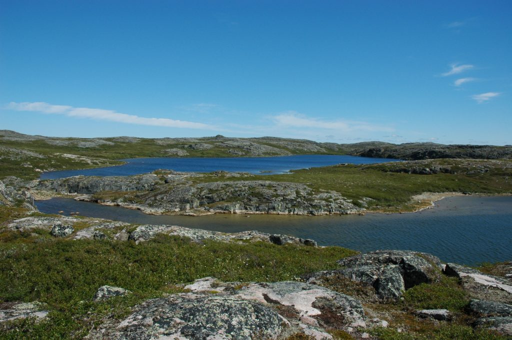 The eastern shore of Hudson's Bay in Nunavik, northern Quebec, with a view of 2.7 billion-year- old continental crust produced by the re-melting of oceanic-type rocks that were older than 4.2 billion years. Photo by Alexandre Jean