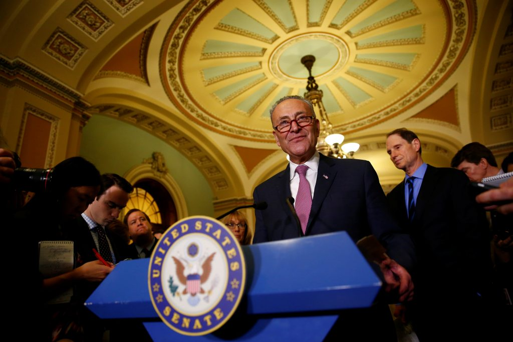 U.S. Senate Minority Leader Chuck Schumer (D-NY) speaks during a news conference Mar. 7 on Capitol Hill in Washington, D.C. Photo by REUTERS/Eric Thayer.