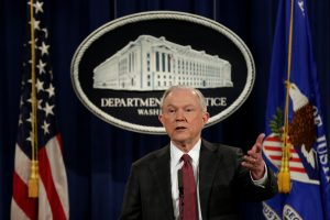 Attorney General Jeff Sessions speaks at a news conference Mar. 2 at the Justice Department in Washington, D.C. Photo by REUTERS/Yuri Gripas.