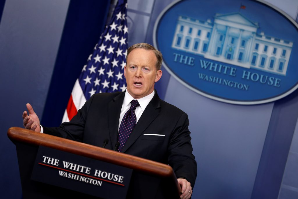 White House Press Secretary Sean Spicer holds the daily press briefing Mar. 29 at the White House in Washington, U.S. Photo by REUTERS/Jonathan Ernst.