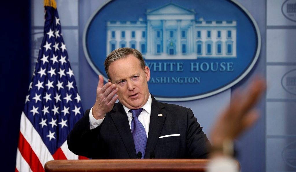 White House spokesman Sean Spicer holds a briefing at the White House in Washington, D.C. Photo by REUTERS/Kevin Lamarque.