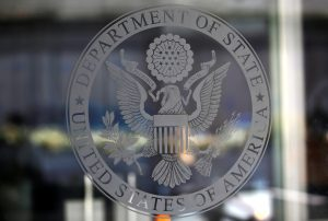 The seal of the United States Department of State is seen Jan. 26 i…