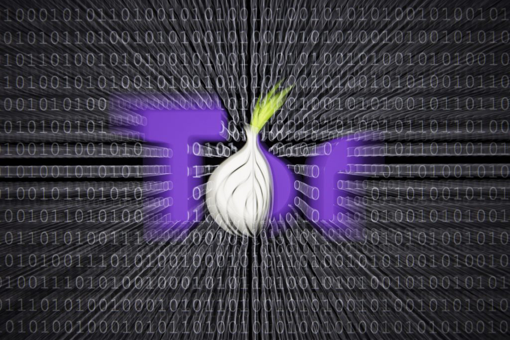 Illustration about 'Darknet', logo of the Tor Browser, which provides access to the Darknet. Binary codes are shown in the background on January 13, 2017 in Berlin, Germany. Photo by Florian Gaertner/Photothek via Getty Images.