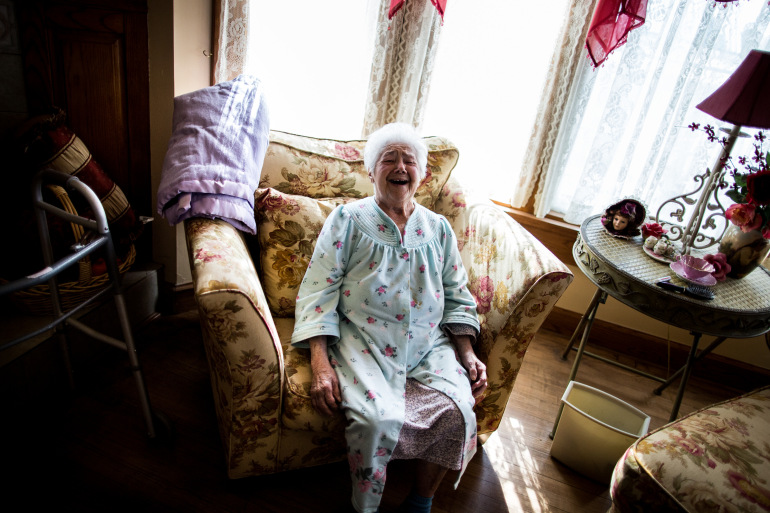 Ruby Horn, who turned 100 on March 16, laughs while telling stories inside her Arco, Idaho, residence last month. Photo by M. Scott Mahaskey/Politico