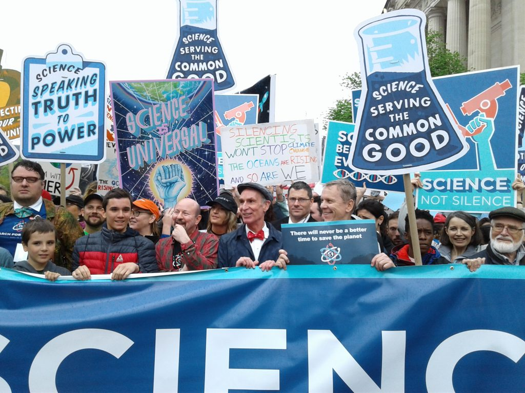 Bill Nye leads the March for Science in Washington, D.C., on April 22, 2017. Photo by Michael Rios