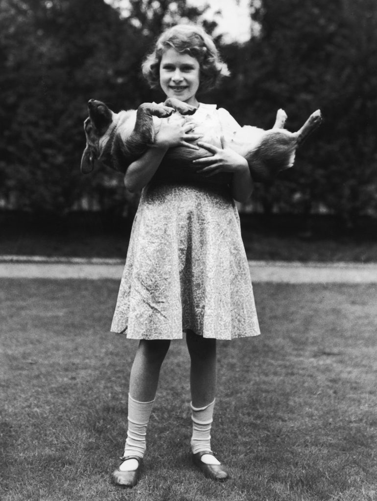 Princess Elizabeth holds a Corgi in this Jan. 1, 1936, photo by Lisa Sheridan/Getty Images