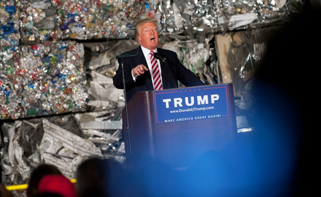 MONESSEN, PA - JUNE 28: Presumptive Republican candidate for President Donald Trump speaks to guests during a policy speech during a campaign stop at Alumisource on June 28, 2016 in Monessen, Pennsylvania. Trump continued to attack Hillary Clinton while delivering an economic policy speech targeting globalization and free trade. (Photo by Jeff Swensen/Getty Images)