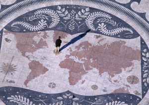PORTUGAL - OCTOBER 25: World Map, 1960, mosaic by Luis Cristino da Silva in the center of the compass rose at the foot of the Monument to the Discoveries (Padrao dos Descobrimentos), on the bank of the Tagus river, Belem district, Lisbon. Portugal, 20th century. (Photo by DeAgostini/Getty Images)