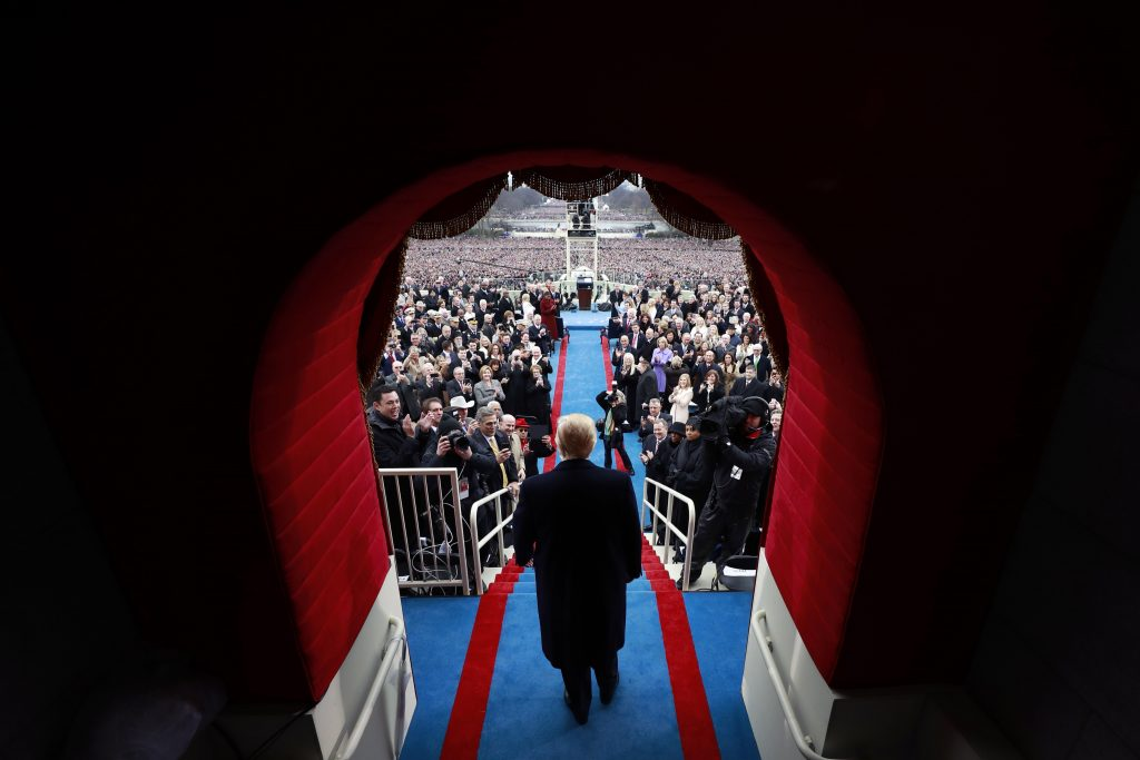 President Trump prepares to take the oath of office. Photo by Doug Mills/Getty Images.