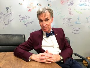 Bill Nye, CEO of the Planetary Society in Pasadena, Calif. discusses science education ahead of a lecture at the National Science Teachers Association's National Conference. Nye is seated at Carl Sagan's desk, former head of the Planetary Society and Nye's professor while a student at Cornell University.