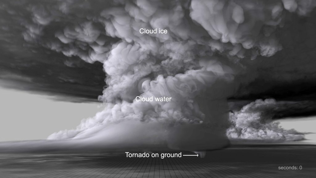 Orf's most recent simulation recreates a deadly EF-5 tornado that struck El Reno, Oklahoma in 2011. Photo courtesy of David Bock/NCSA