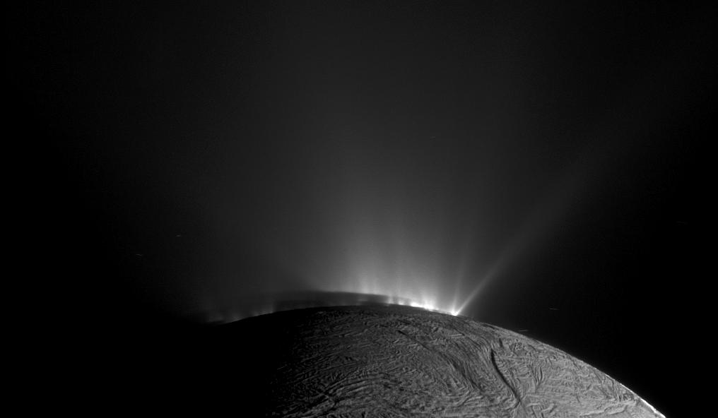 A picture of the ice plumes on Enceladus taken by Cassini. Photo by NASA