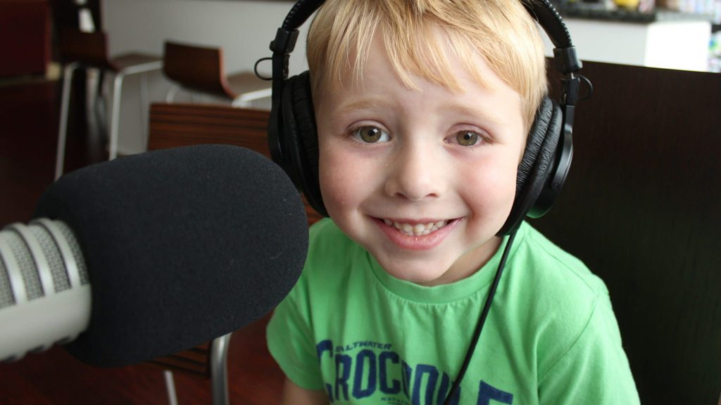 "Nate Butkus, 6, hosts ""The Show About Science,"" with one producer, his dad. Photo courtesy of The Show About Science"
