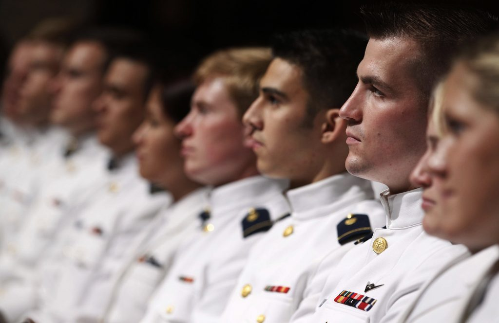 File photo of cadets at the Coast Guard Academy in New London, Connecticut by Larry Downing/Reuters