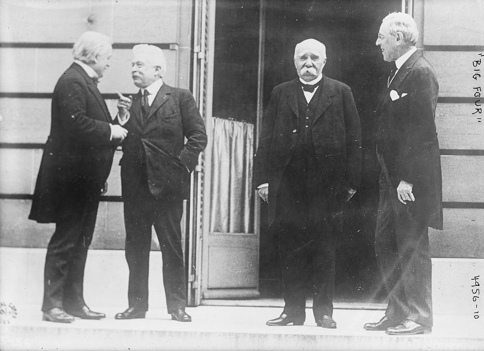 The Big Four Allied leaders of World War I, also known as the Council of Four, included British Prime Minister David Lloyd George, Italian Premier Vittorio Emanuele Orlando, French Premier Georges Clemenceau and President Woodrow Wilson. They are pictured here in Versailles at the Paris peace conference, May 27, 1919. Handout via U.S. Library of Congress from Reuters