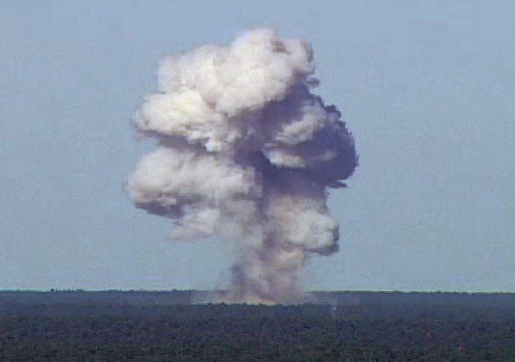 The GBU-43/B, also known as the Massive Ordnance Air Blast, detonatesat Eglain Air Force Base in Florida on November 21, 2003. The21,700-pound bomb was dropped from 20,000 feet to reach its target onone of Eglin's test ranges. Upon detonation, it created a plume thatrose more than 10,000 feet over the Florida Panhandle. REUTERS/U.S. AirForce photo/HandoutHK - RTR7LE7