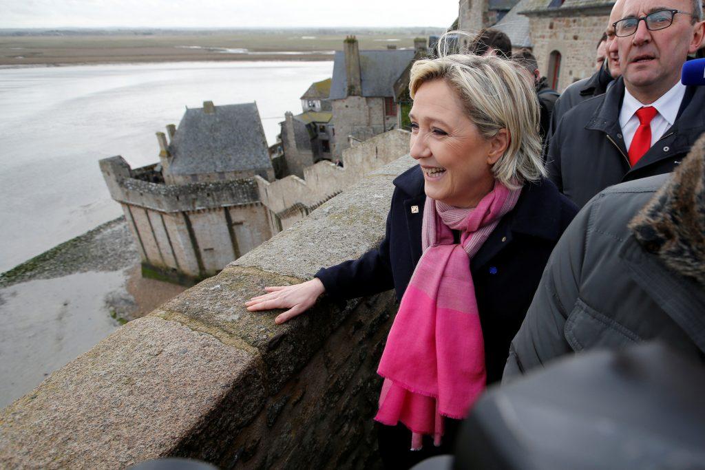 Marine Le Pen, French National Front political party leader, visits Le Mont Saint Michel, France on Feb. 27. Photo by Stephane Mahe/Reuters