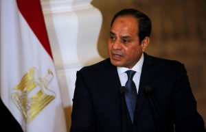 Egypt's President Abdel Fattah al-Sisi speaks during a news conference with German Chancellor Angela Merkel (unseen) at the El-Thadiya presidential palace in Cairo