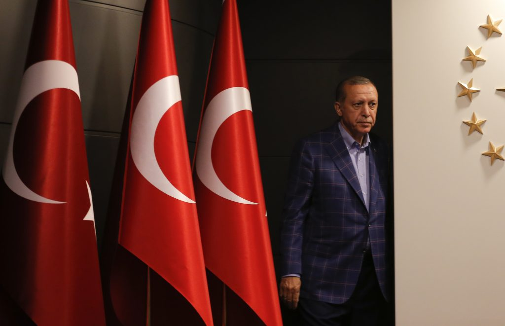 Turkish President Tayyip Erdogan arrives for a press conference in Istanbul,