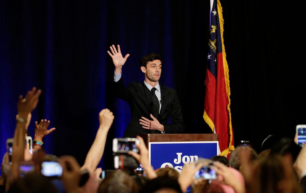 Georgia's Sixth District Congressional candidate Jon Ossoff speaks to his supports at his Election Night party in Sandy Springs, Georgia, U.S., April 18, 2017. REUTERS/Marvin Gentry - RTS12VHH