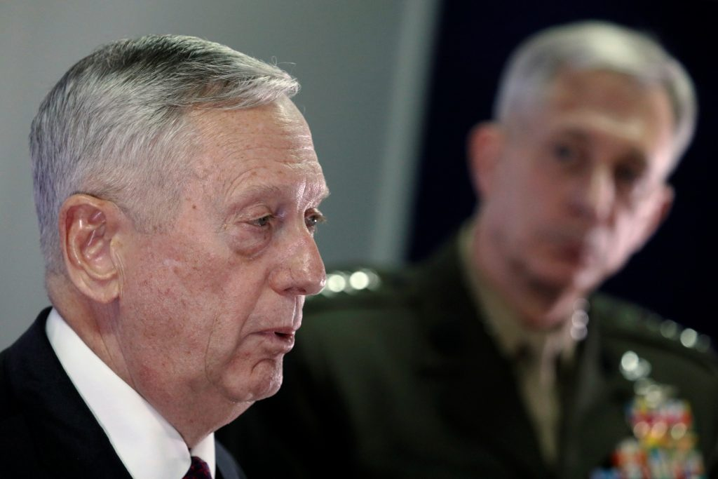 Mattis and Waldhauser hold a news conference at Camp Lemonnier in Ambouli, Djibouti