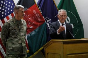 Defense Secretary James Mattis (right) and Army Gen. John Nicholson (left), commander of U.S. Forces Afghanistan, hold a news conference at Resolute Support headquarters in Kabul, Afghanistan on April 24. Photo by Jonathan Ernst/Reuters